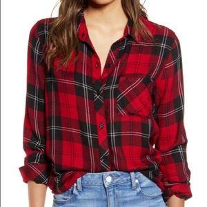 🍁RAILS Hunter Plaid Flannel Shirt, Cherry/Navy
